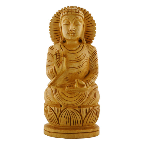 WA1017-6; Wooden Blessing  Buddha on Lotus - 6""