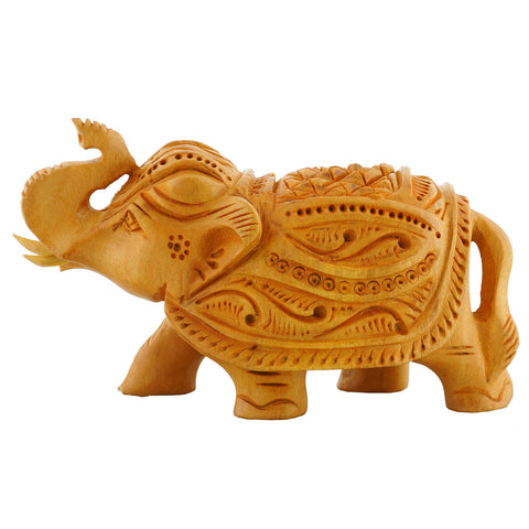 "WA1020 - Wooden carved Elephant 2"" - Trunk Up"