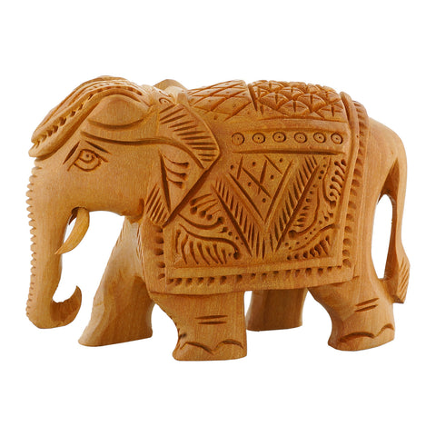 "WA1019; Wooden carved Elephant 2"" - Trunk Down"