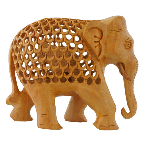 WA1003-4 - Wooden Elephant - trunk down - Open work- 4""
