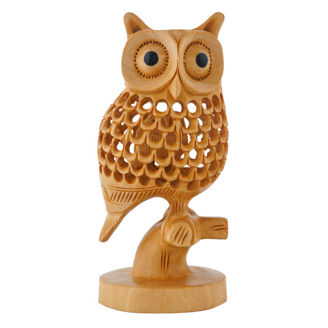 Wooden Sideface OWL on a Branch - Multiple Sizes - WA1004