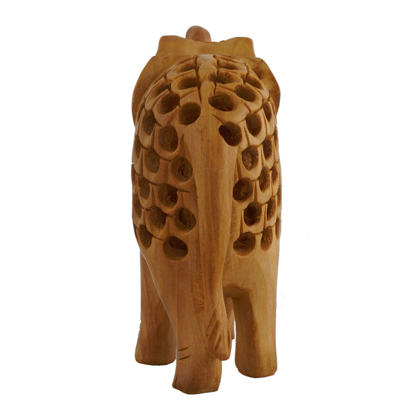 WA1009 - Wooden Elephant (Trunk Up) - Openwork-(Multiple Sizes)