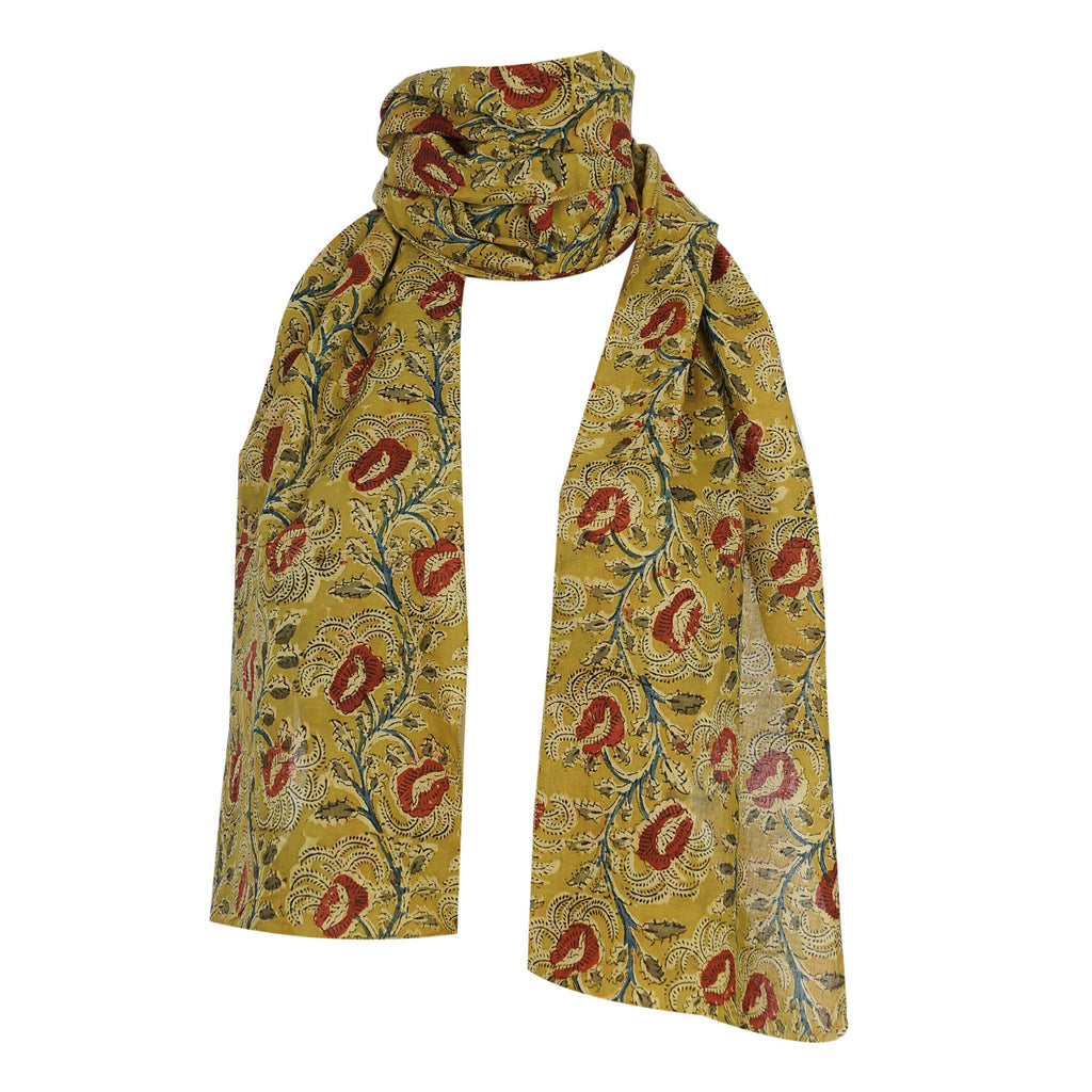 Oblong Scarf - Kalamkari - Yellow (SON0008)