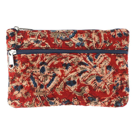 KK2105- Coin Purses - Two Zipper - Kalamkari - Red Flowers