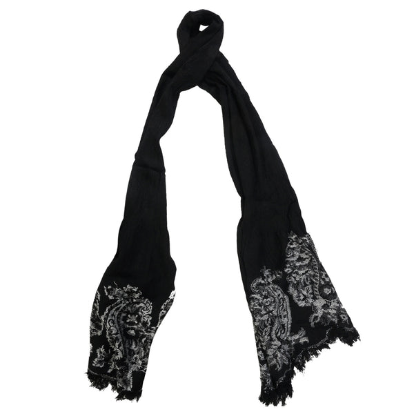 SF0007- Scarf - Black with embroidery on edge