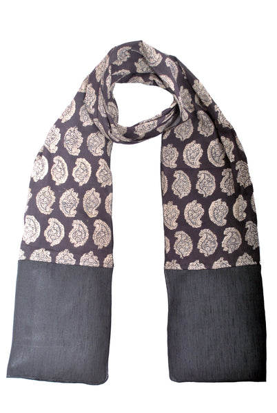 SOS0101 - kalamkari Scarf with Silk Trim - Black Paisley
