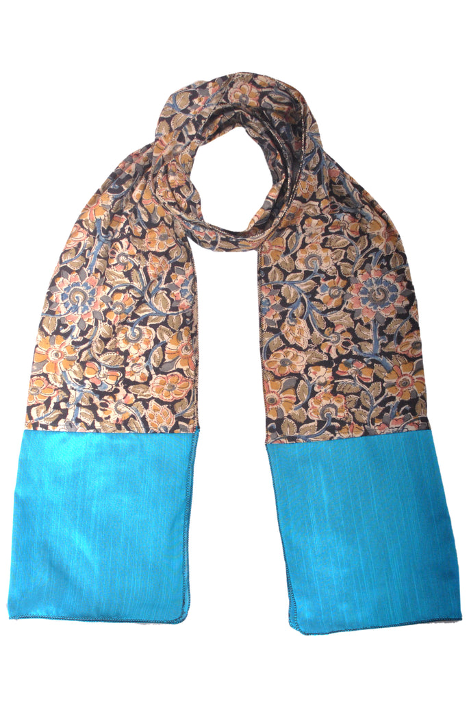 SOS0105 - Kalamkari Scarf with Silk Trim - STT Black