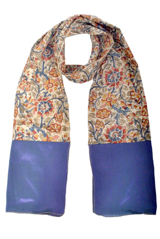 SOS0104 - Kalamkari Scarf with Silk Trim - STT Cream