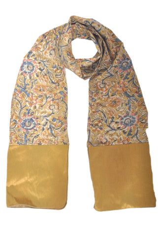 SOS0106 - Kalamkari Scarf with Silk Trim - STT Green