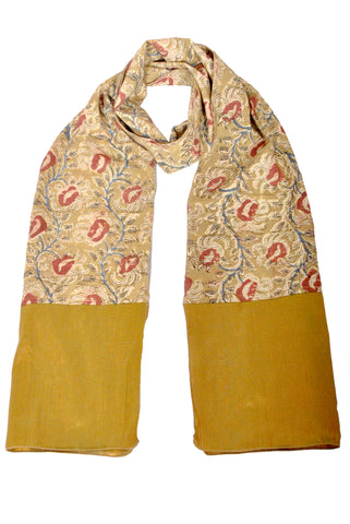 SOS0107 - Kalamkari Scarf with Silk Trim - 48 yellow