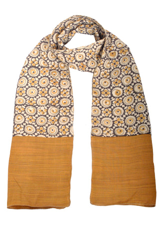 SOS0102 - Kalamkari Scarf with Silk Trim - 105 Natural