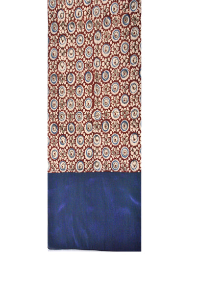 SOS0103 - Kalamkari Scarf with Silk Trim - 105 Brown