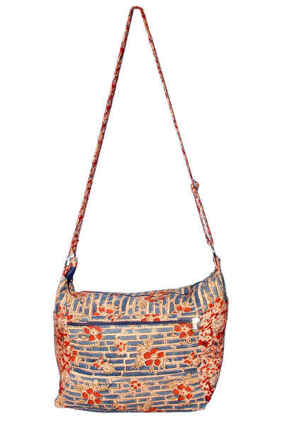 KK2010 - Indy Cotton Bag - Blue bamboo/Red Flowers