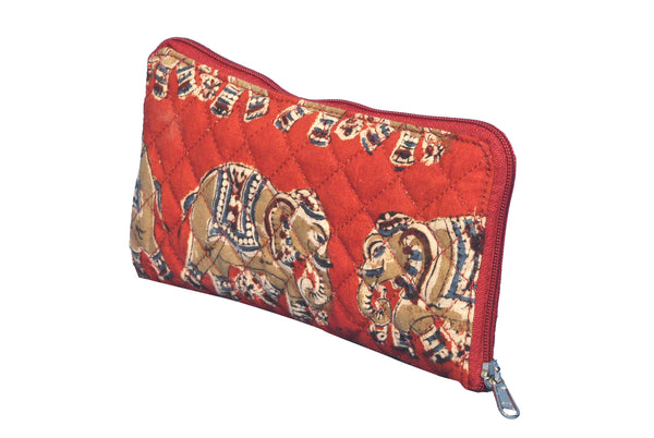 Wallet- Kalamkari -  Red Elephants (KK2057)