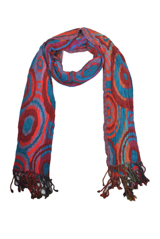 SF0002 - Viscose Scarf - Blue Circles