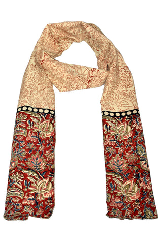 SOP0015- Kalamkari Oblong Scarf with border print