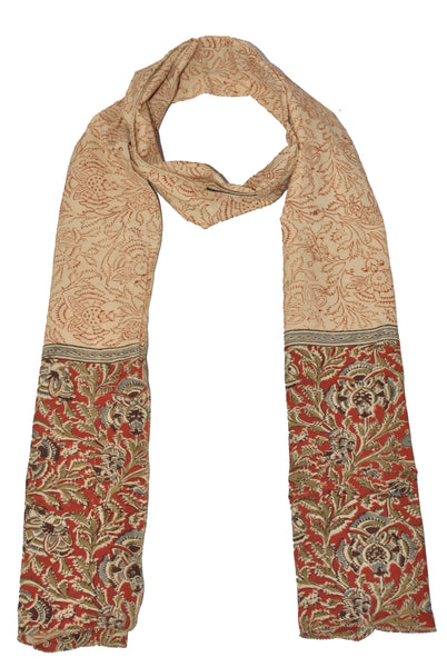 SOP0013- Kalamkari Oblong Scarf with border print