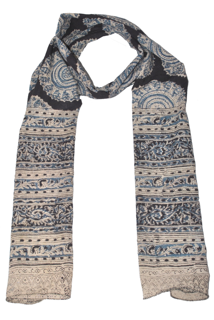 SOP0017- Kalamkari Oblong Scarf with border print