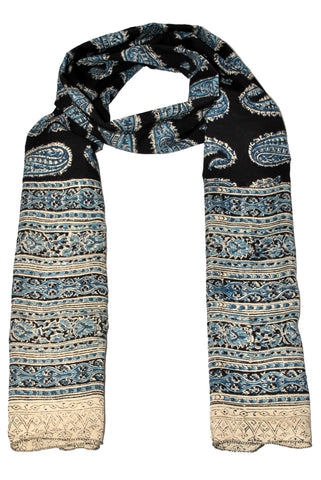 SOP0020- Kalamkari Oblong Scarf with border print