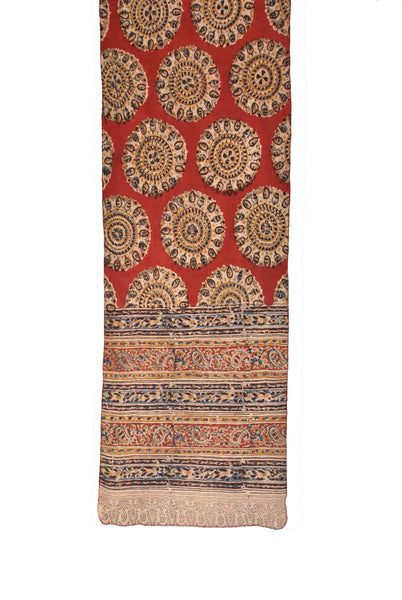 SOP0019- Kalamkari Oblong Scarf with border print