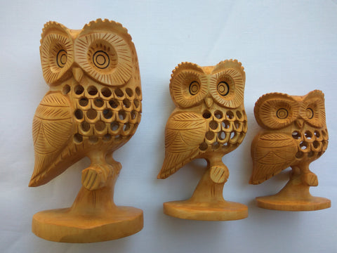 Wooden Sideface OWL on a Branch-Carved&undercut - Multiple Sizes - WA1031
