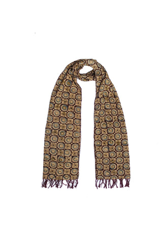 Scarf - Kalamkari - Circles Brown (SON0112)