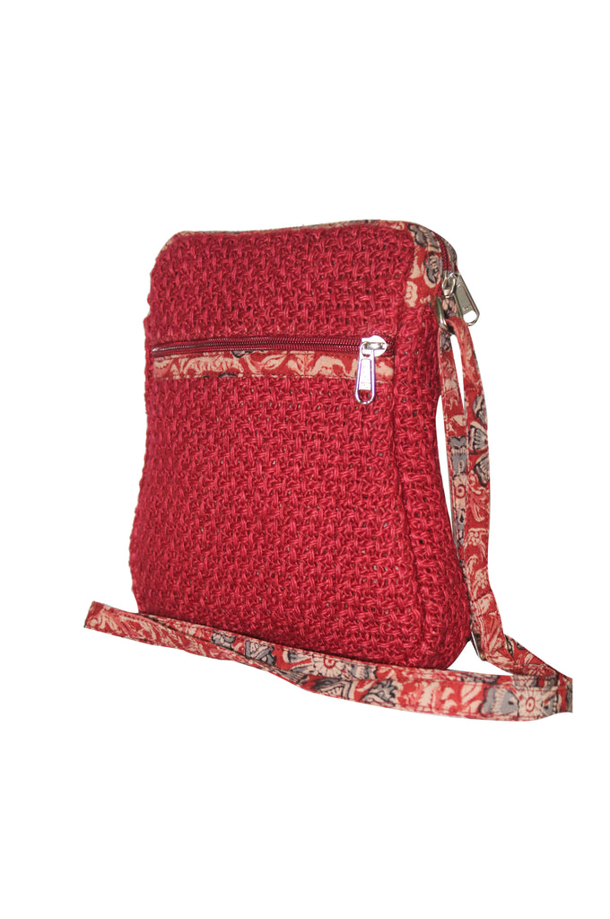 Cutie - Jute Cross Body Bag - Red (JK1202)