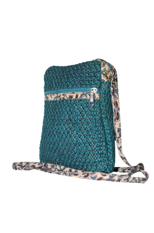 Cutie - Jute Cross Body Bag-Teal Blue -  (JK1206)
