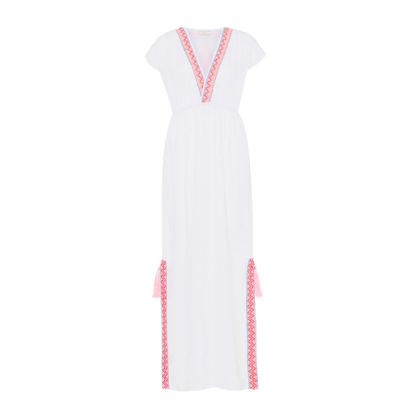 Elia maxi dress in white with pink embroidered trim