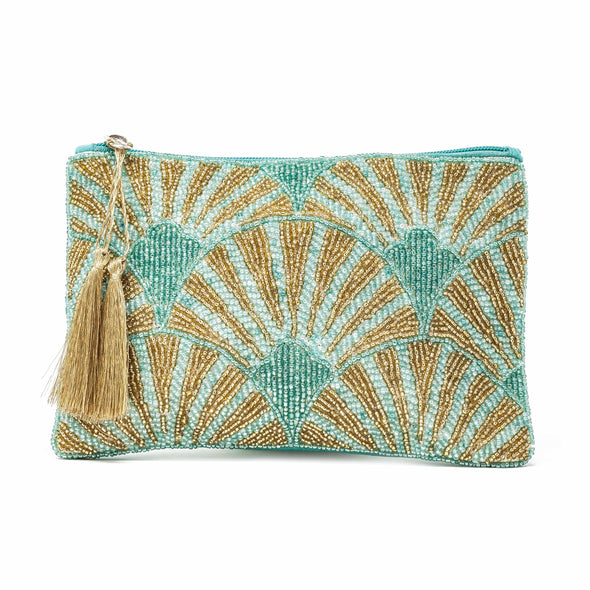 Gatsby beaded pouch aqua & gold