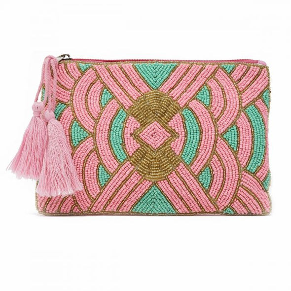 Chrysler beaded pouch pink & aqua
