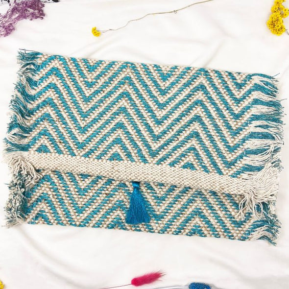 Mykonos clutch bag metallic turquoise