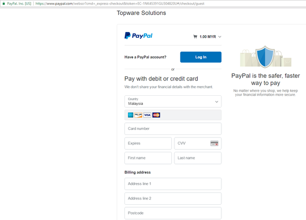 Topware Solutions - Paypal Page