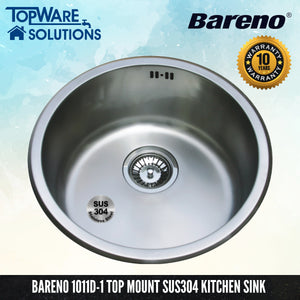 BARENO Kitchen Sink 1011D-1 Undermount SUS304 with 10 Year Warranty, Kitchen Sinks, BARENO - Topware Solutions