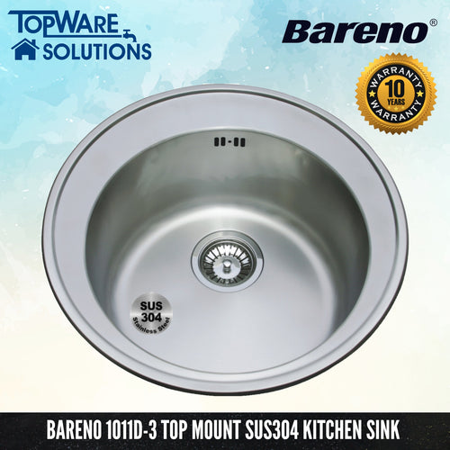 BARENO Kitchen Sink 1011D-3 Top Mount SUS304 with 10 Year Warranty, Kitchen Sinks, BARENO - Topware Solutions