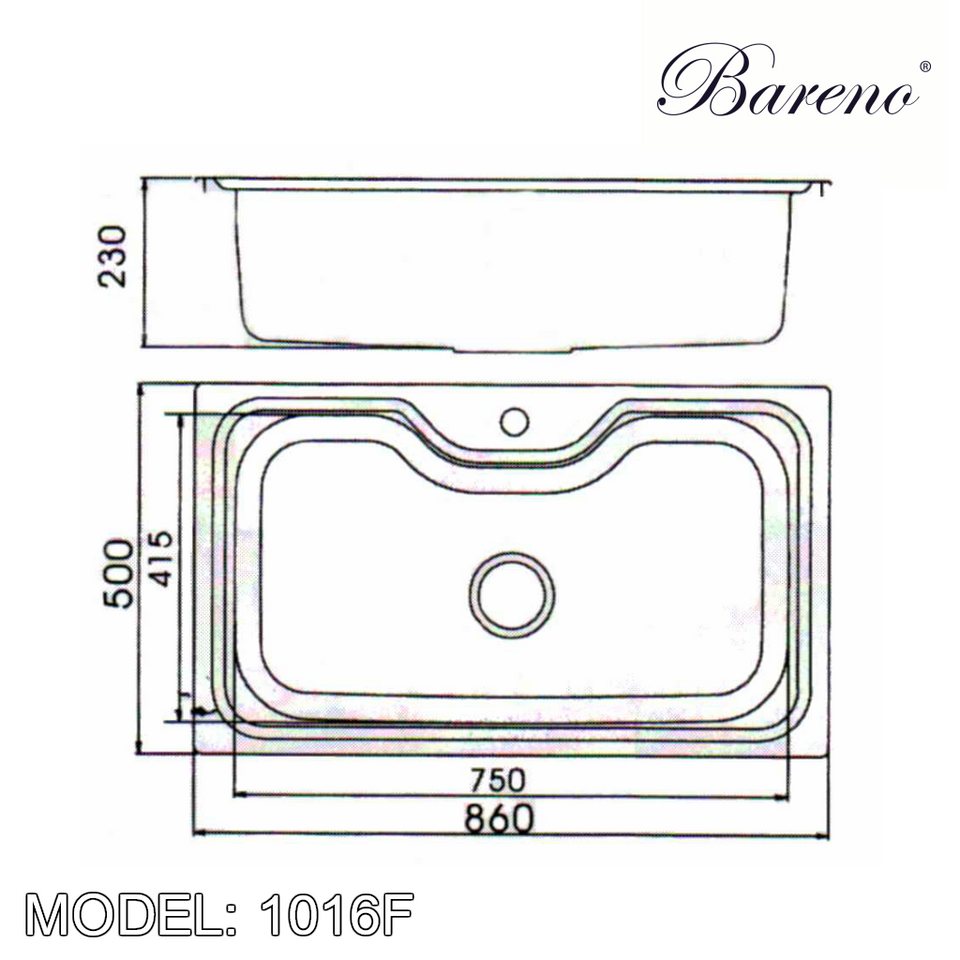 BARENO Kitchen Sink 1016F Top Mount SUS304 with 10 Year Warranty, Kitchen Sinks, BARENO - Topware Solutions