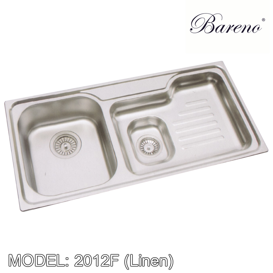 BARENO Kitchen Sink W2102F (Linen) Top Mount SUS304 with 10 Year Warranty, Kitchen Sinks, BARENO - Topware Solutions