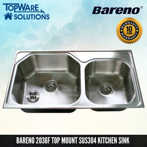 BARENO Kitchen Sink 2036F Top Mount SUS304 with 10 Year Warranty, Kitchen Sinks, BARENO - Topware Solutions