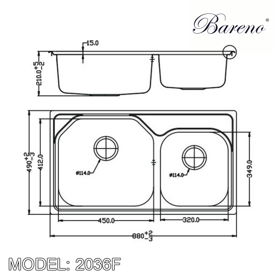 BARENO Kitchen Sink 2036F, Kitchen Sinks, BARENO - Topware Solutions