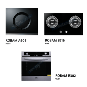 ROBAM Hood A606 + ROBAM Hob B716 + ROBAM Oven R302, Kitchen Hoods/Hobs/Oven, ROBAM - Topware Solutions