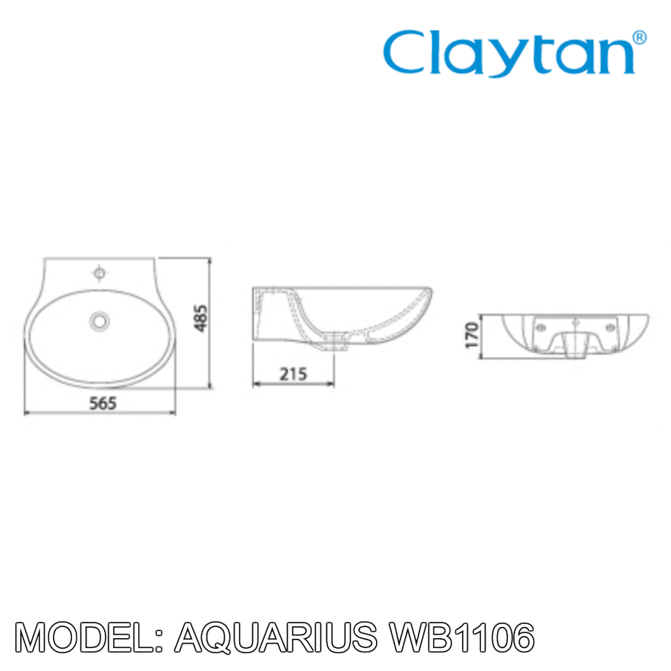 CLAYTAN Aquarius Wall Hung Basin WB1106, Bathroom Basins, CLAYTAN - Topware Solutions