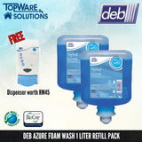 DEB Azure Foam Hand Soap Refill Pack 1L with Free Dispenser, Hygiene Solution, DEB - Topware Solutions