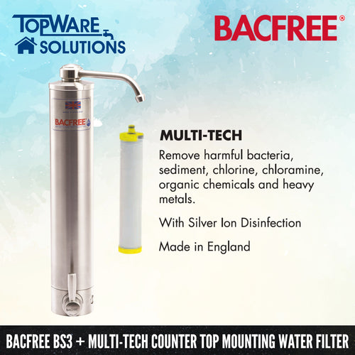 BACFREE BS3 + Multi Tech Filter Element Top Mounting Drinking Water Filter System, Water Filters, BACFREE - Topware Solutions
