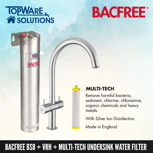 BACFREE BS8 + VRH Faucet + Multi Tech Filter Element Undersink Drinking Water Filter System, Water Filters, BACFREE - Topware Solutions