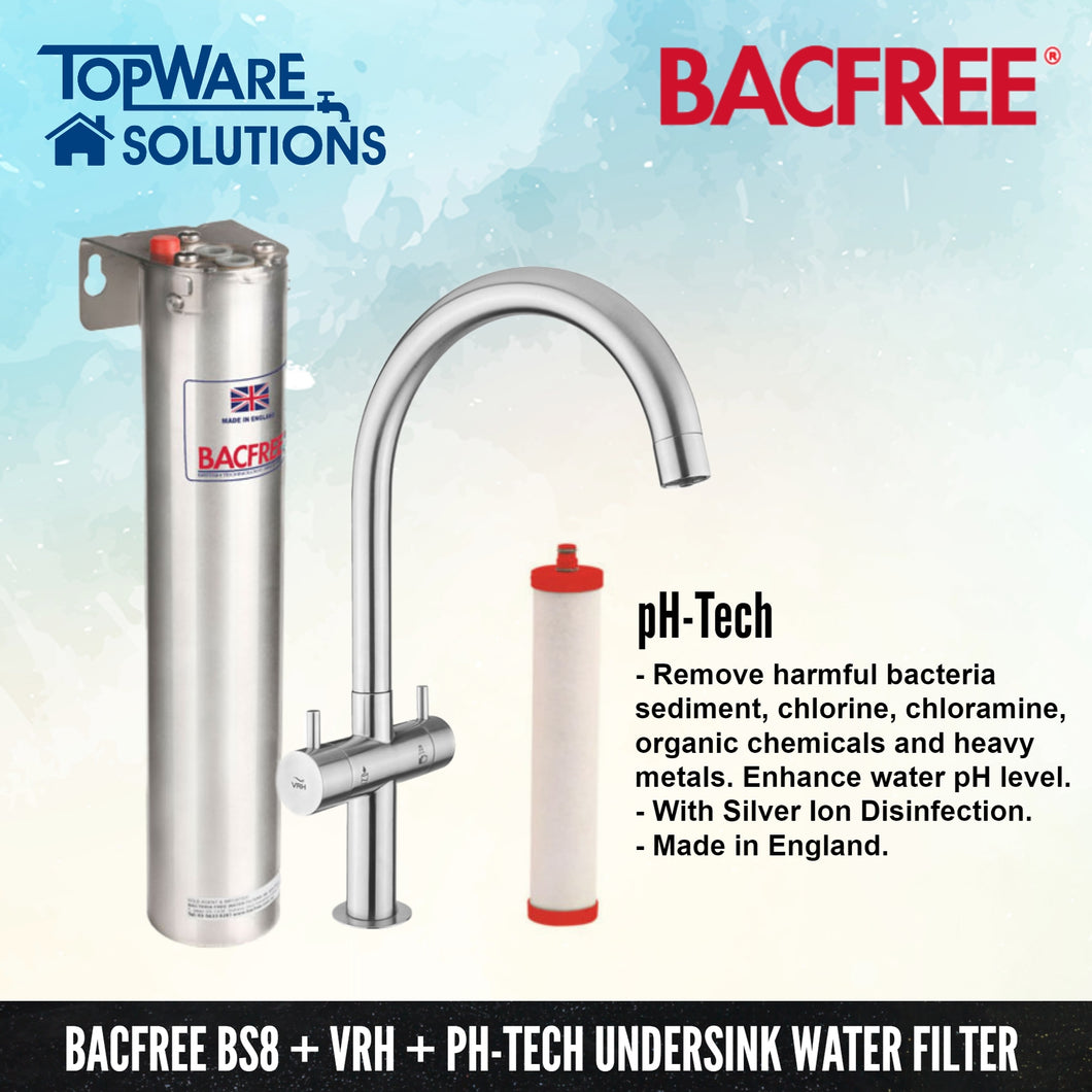 BACFREE BS8 + VRH Faucet + pH Tech Filter Element Undersink Drinking Water Filter System, Water Filters, BACFREE - Topware Solutions