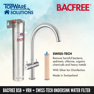 BACFREE BS8 + VRH Faucet + Swiss Tech Filter Element Undersink Drinking Water Filter System, Water Filters, BACFREE - Topware Solutions