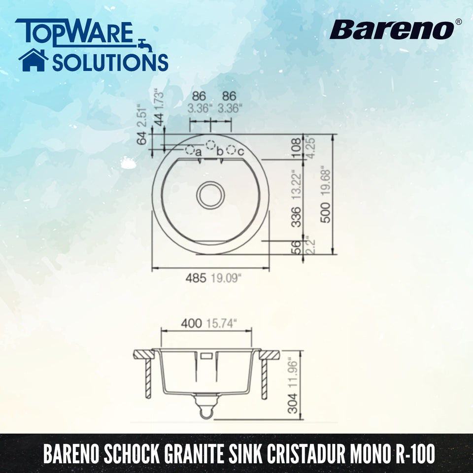 SCHOCK Granite Sink Cristadur Mono R-100, Kitchen Sinks, BARENO by SCHOCK - Topware Solutions