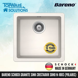 SCHOCK Granite Sink Cristadur Soho N-100S, Kitchen Sinks, BARENO by SCHOCK - Topware Solutions