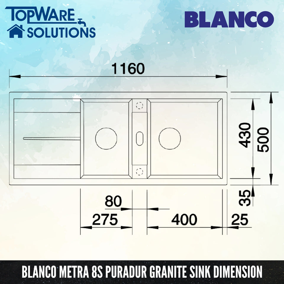 BLANCO Metra 8S Silgranit™ PuraDur™ Granite Sink, Kitchen Sinks, BLANCO - Topware Solutions