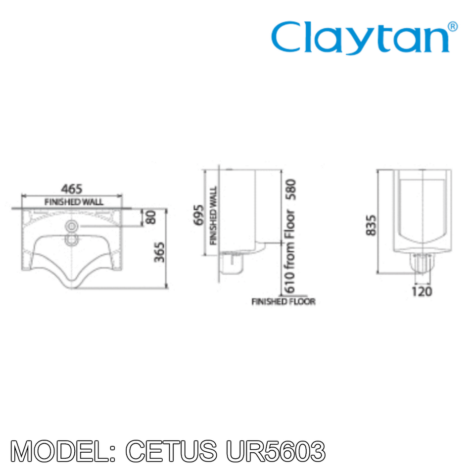 CLAYTAN Cetus Wall Hung Urinal UR5603, Bathroom Urinals, CLAYTAN - Topware Solutions